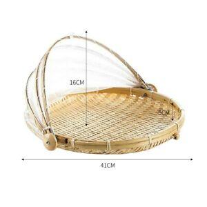 Handmade Bamboo Woven Bug Proof Wicker Basket Dustproof Sale Cover Hot Q0L1