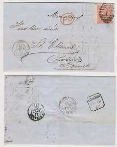 """GB 1867 Sc 43a pl 8 ON ENTIRE LETTER OVAL """"1"""" PMK + """"PD"""" TO FRANCE VF SCV$200"""