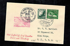 1939 Wurzburg Germany Graf Zeppelin Cover to USA LZ 130