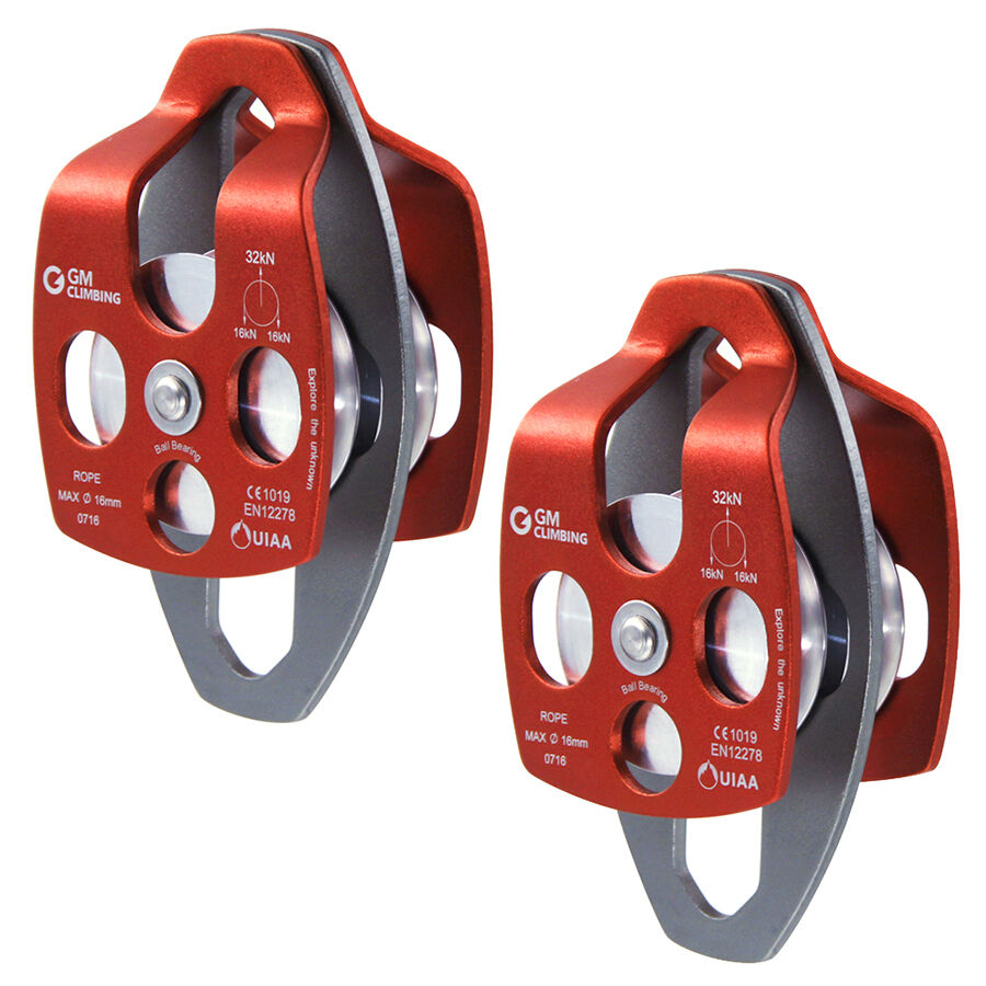 2xGM CLIMBING 32KN  Twin Sheave Rope Pulley for 5 8 or 16mm Rope Rescue Lifting  the latest models