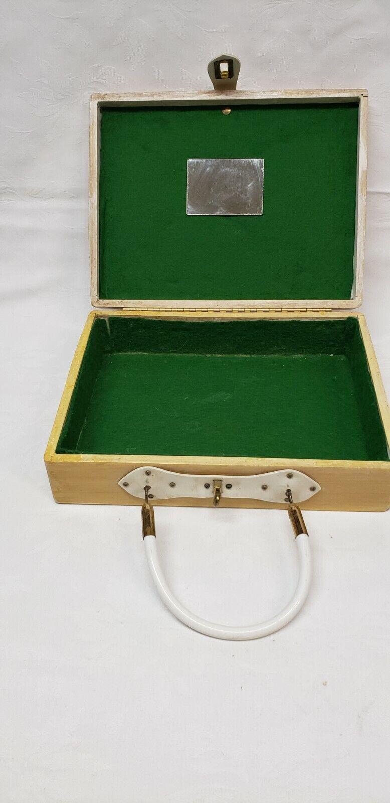 Vintage wood box purse top handle bag 60's Bird … - image 6