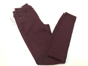 Bullhead-Women-039-s-High-Rise-Skinniest-Jeans-Merlot-Size-23-New-Ripped-Stretch