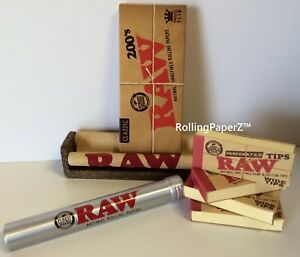 200-RAW-King-Size-Slim-Papers-200-Wide-Tips-Rolling-Machine-Storage-Tube