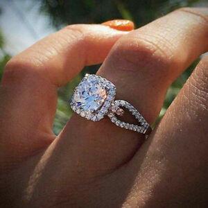 Fashion-Women-925-Silver-Wedding-Ring-Round-Cut-White-Sapphire-Ring-Size-6-10