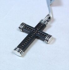 David Yurman Men's Titanium Black Diamond Royal Cord Cross Pendant $975 NWT