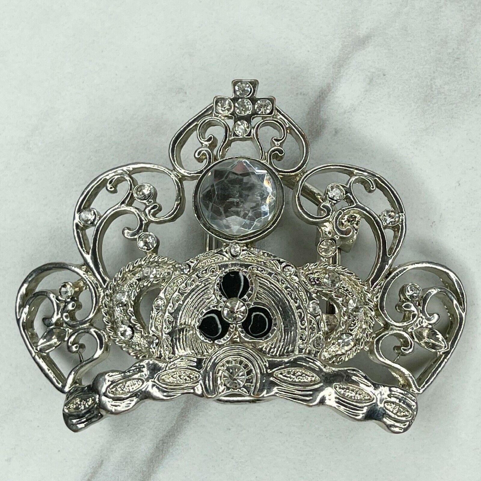 Silver Tone Rhinestone Cross Crown Belt Buckle