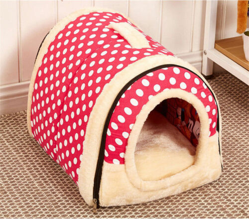 Pet Kennel Dog Cat House Mat Cave Soft Bed Washable Pad Puppy Cushion Foldable