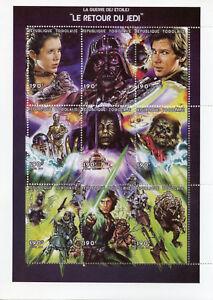 Togo-1997-MNH-Star-Wars-Return-of-Jedi-Luke-Skywalker-Darth-Vader-9v-M-S-Stamps