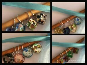 Knitterbabe-Glass-Foil-Bead-Stitch-Markers-x-4-per-set-Up-to-5-0mm-needles