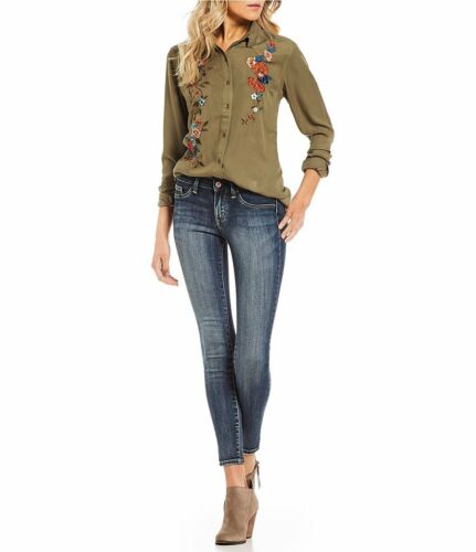 Jessica Top Long Pearl Down Burnt Embroidered Button Floral Olive Sleeve Simpson rqvYr