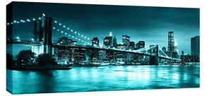 Image Is Loading Large Teal Turquoise Brooklyn Bridge Canvas New York