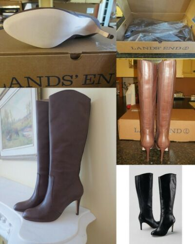 $199 NIB Lands End Womens High Heel Tall Stretch Leather Boots 7