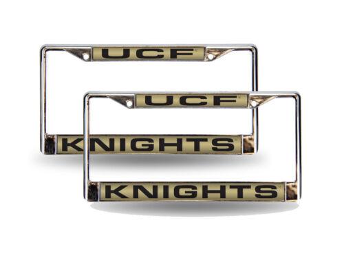 Set of 2 Laser License Plate Frame UCF Central Florida Knights Chrome Metal