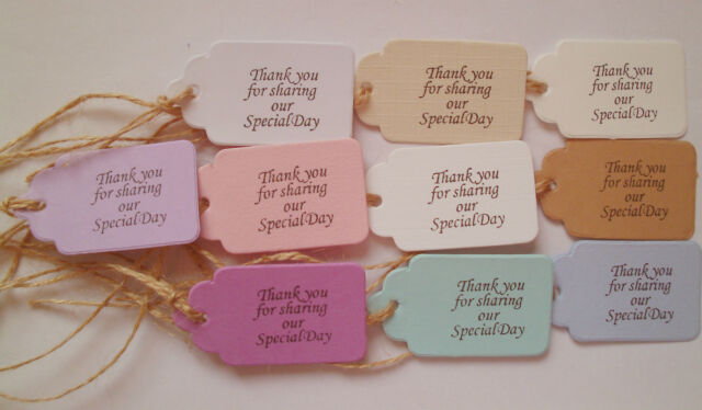 50 Handmade Tags 'Thank You For Sharing Our Special Day' All Occasions, Gifts