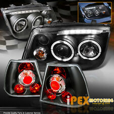 NEW 1999-2004 VW Jetta BORA MK4 Halo LED Projector Headlights + Black Tail Light