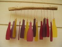 Glass Wind Chimes Purple Red Yellow Bottle Shaped Glass Bars Free Ship
