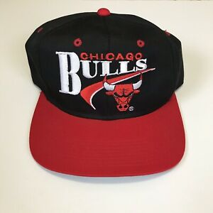 4293719b Vintage Chicago Bulls Snapback Hat 90s NBA Black Red Air Micheal ...