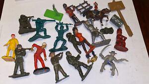 Trabajo Vintage Lote Soldados De Juguete, indios, viejos reparaciones metal plástico Britains