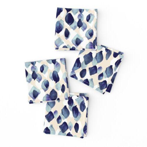 Cocktail Napkins Abstract Indigo Blue Watercolor Diamond Fashion Nature Set of 4