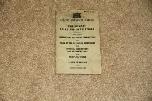 Vintage Rock Island Lines Railroad Rules and Regulations Feb 1959