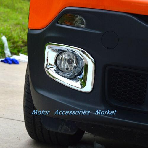 New Chrome Front Fog Light Cover Trim for Jeep Renegade 2015 2016 2017