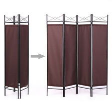 4 Panel Room Divider Privacy Screen Home Office Fabric Black Metal