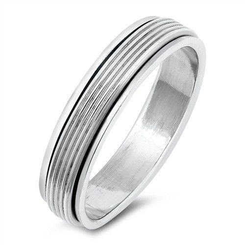 USA vendeur Spinner Band Ring Original Argent Sterling 925 hauteur 5 mm Taille 10