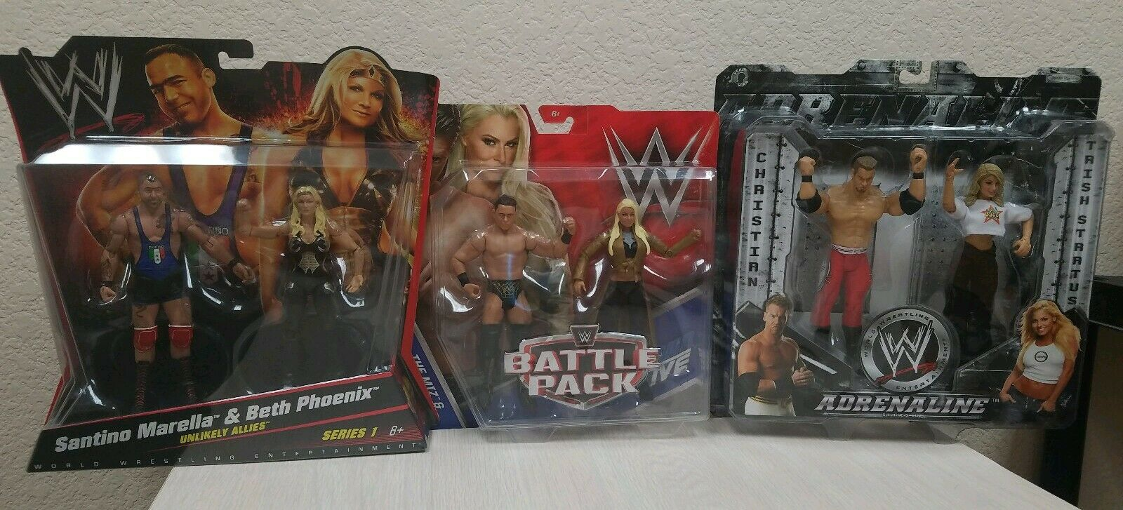 WWE Battle 2 Packs Lot Trish Stratus Christian Beth Phoenix Santino Miz Maryse