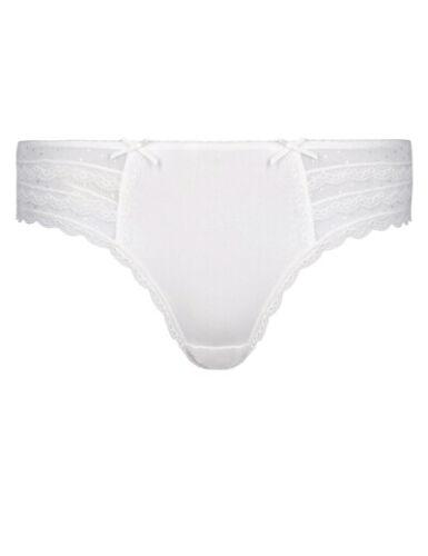 M/&S Ladies Black White Delicate Lace Panel Low Rise Brazilian Knickers  UK 8-18