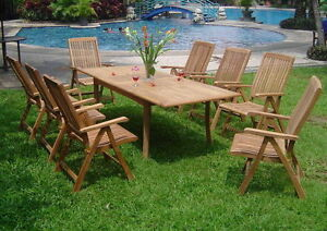 9 PC TEAK GARDEN OUTDOOR RECLINING PATIO FURNITURE POOL MARLEY DINING DECK M01