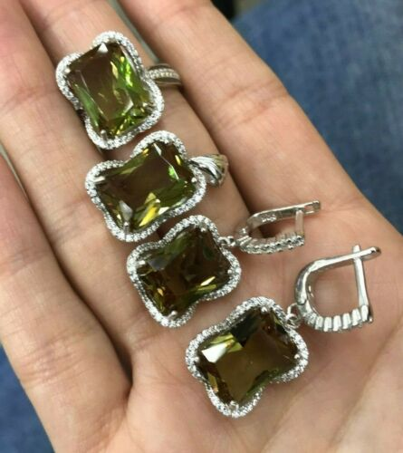 925 Sterling Silver Handmade Authentic Turkish Emerald Ladies Set