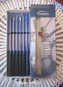 Trudeau-Fondue-Forks-Stainless-Colored-Dot-Black-Handles-Set-Of-6-Box-New