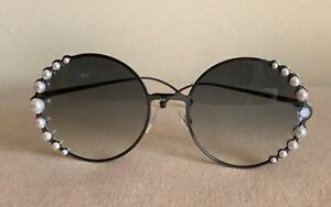 22f322a06a7 Image is loading Fendi-Round-Pearl-Frame-Sunglasses-Dark-One-Size
