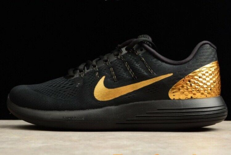 Nike Lunarglide 8 LE Black Gold Medal Olympic 7.5 Men's Running Shoes 878706-007