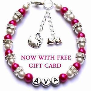 Girls-Personalised-Hello-Kitty-Charm-Friendship-Bracelet-Flower-Girl-Gift