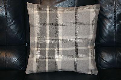 Cushion cover. Handmade. Tartan check Highland wool effect dove grey off white