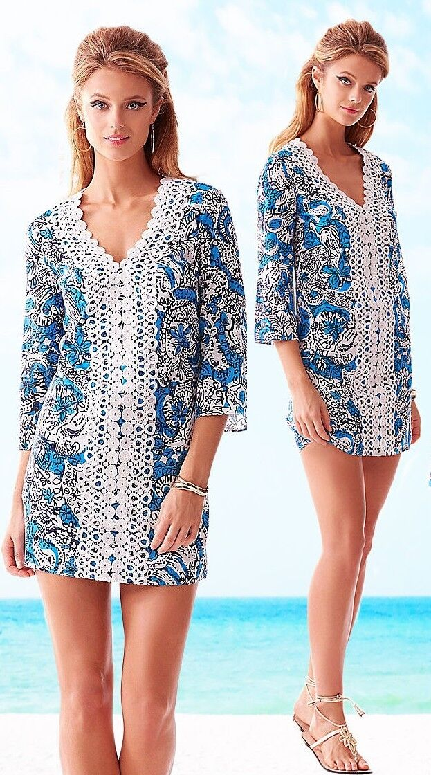 178 Lilly Pulitzer Brooke Ariel bluee Hippy Hippy Shake Lace Front Tunic Dress