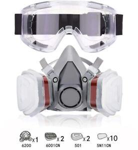 Atemschutz Halbmaske Gasmaske 6200 Staubmaske Lackiermaske Mit Schutzbrillen