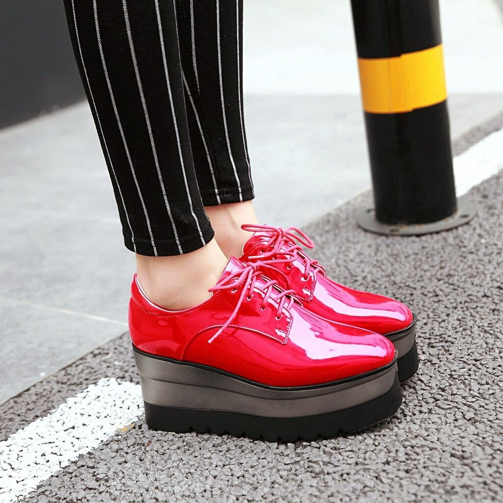 New femmes Wedge High Heels Platform Creeper chaussures Lace Up Patent Leather baskets