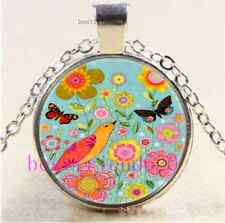 Birds,butterflies Flower Cabochon Glass Tibet Silver Chain Pendant Necklace