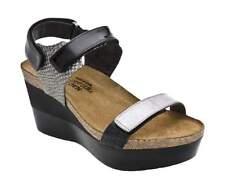 NAOT Miracle Wedge Sandals Black Grey Silver Lizard Print Womens Sz 7 38 NEW