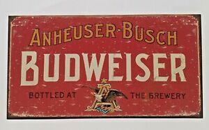 Bud Budweiser Beer Anheuser Busch Brewery Red Metal Tin Sign Vintage Bar Pub New