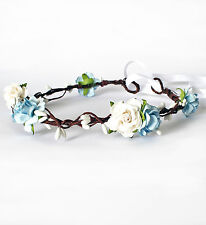 Blue Floral Crown Flower Girl Bridesmaid Flower Crown Wedding Bridal Garland