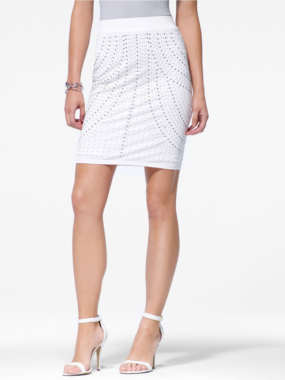 NWT CACHE White Studded Pencil Skirt  Evening  Club   2  4  6  8  10    (S M L)
