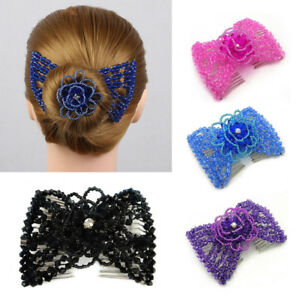 Magic Double Beads Hair Comb Clip Stretchable Hairpins Hair Accessories Trendy
