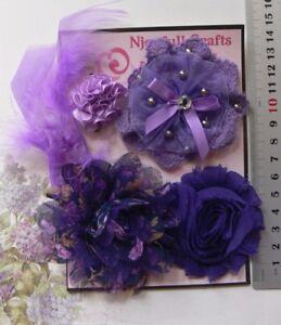 INDIGO-amp-MAUVE-Organza-Fabric-Lace-5-Flower-FeatherPk-30-75mm-Njoyfull-Crafts-B1