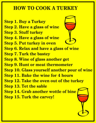 HUMOROUS HOW TO COOK TURKEY WINE LOVERS  FRIDGE LOCKER  MAGNET