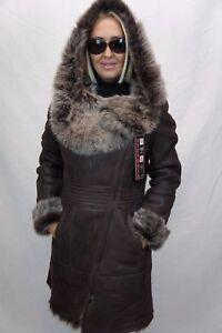 BROWN-100-Long-Hair-Toscana-Sheepskin-Shearling-Leather-Coat-Jacket-Hood-XS-7XL