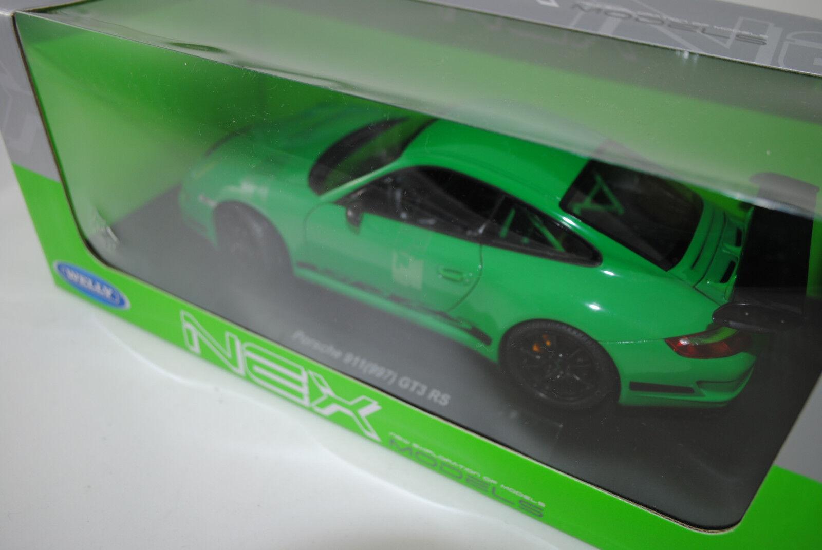 1 18 1 18 Welly NEX    Porsche 911 (997) RS green W  Neu OVP bb364e