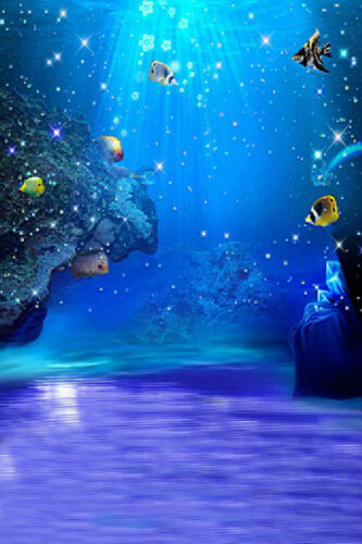 Blue Ocean Aquarium Background Photography Backdrop Studio Props 5X7ft Vinyl